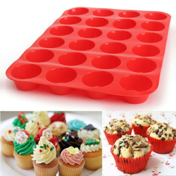 24 Cups Mini Muffin Cupcake Silicone Bakeware Cake Mould Mold Pan Tin 1 Pack