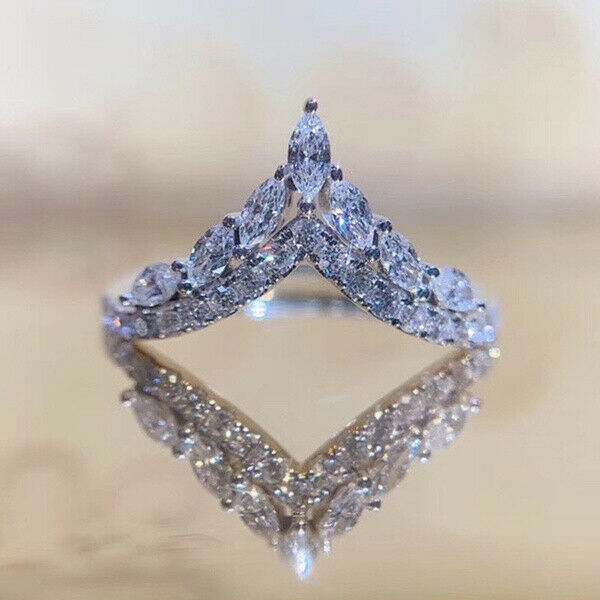 Elegant 925 Silver Rings for Women Cubic Zirconia Anniversary Jewelry Size 6 10