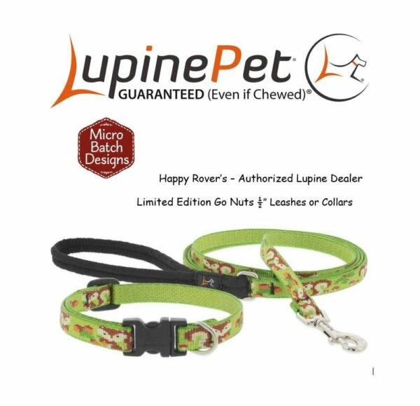 Lupine Lifetime LIMITED EDITION Dog Collars or Leashes 1 2quot; Squirrel GO NUTS $11.89