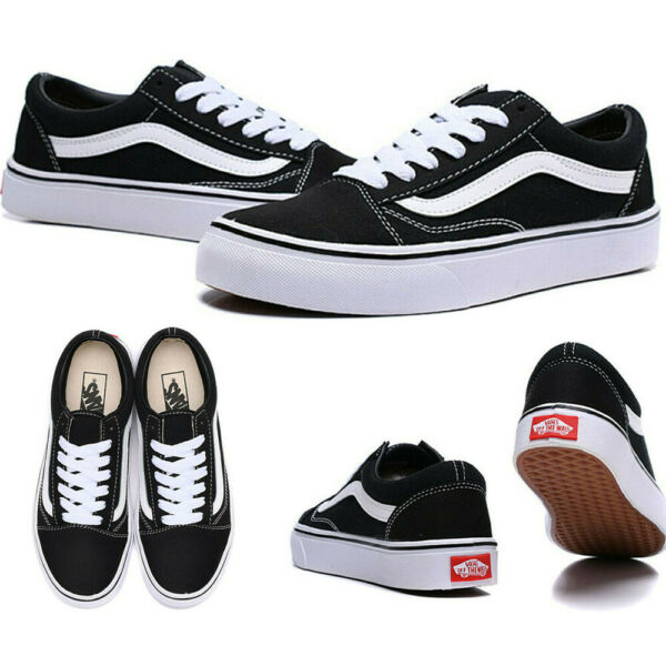 Vans Old Skool Black White Low Suede Canvas Classic Skate Shoes FREE SHIPPING