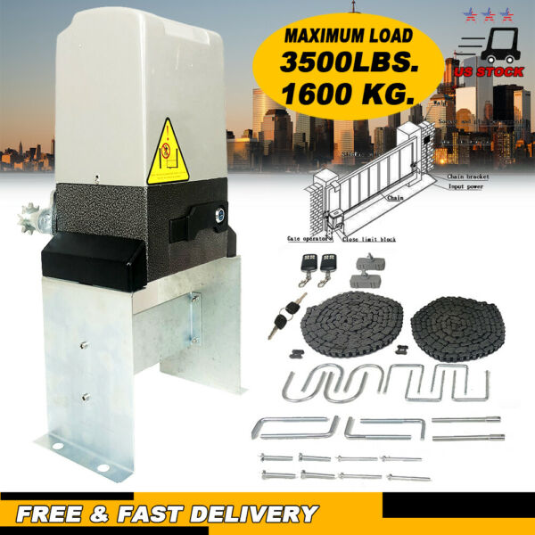 Electric Automatic Sliding Gate Opener 3500lbs Driveway amp; Remote Control 110V A $166.12