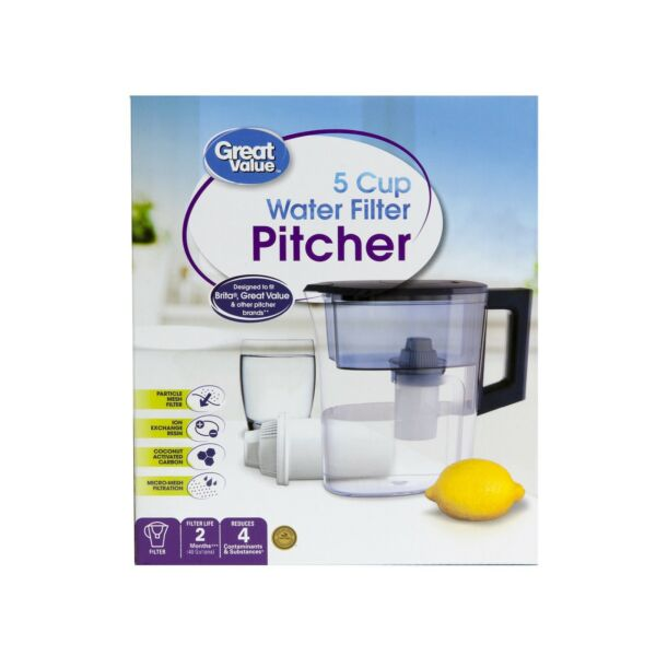 Great Value 5 Cup Water Filter Pitcher 1 Filter Included Fits Brita Filters New