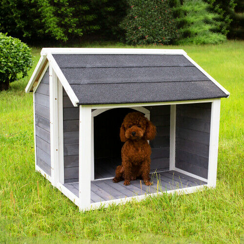 US Solid pine wood wooden puppy dog house dog home For backyard patio garden $269.69