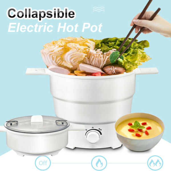 800W Foldable Electric Silicone Cooker Hot Pot Food Boiling Water Steamer Travel $38.49