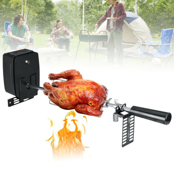 USA Electric Chicken BBQ Rotisserie Grill Motor Spit Rod Stainless Stee amp; Forks