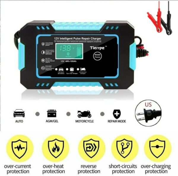 12V 6A Car Battery Charger Smart Auto Jump Starter Power Bank Booster Maintainer $19.91