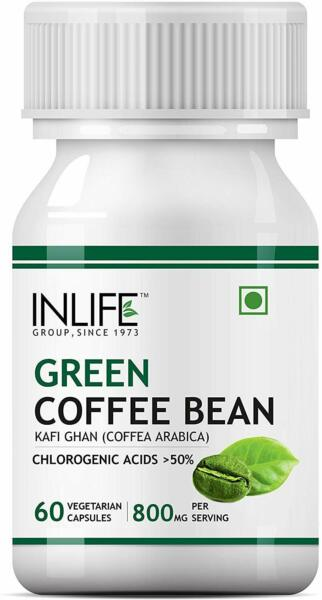 INLIFE Green Coffee Beans Extract 800 Mg Serving 60 Veg. Capsules Free Ship