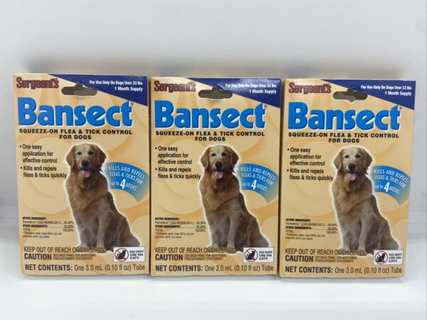 3 Pack Sergeant's Bansect Squeeze on Dog Flea amp; Tick Control Medium Large Dogs $8.99