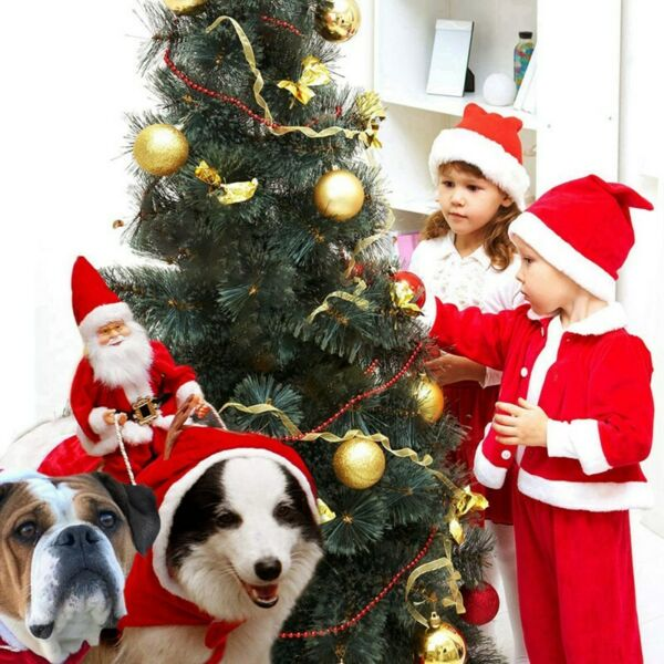 Pet Dog Christmas Cosplay Hoodie Costume Puppy Party Santa Dress Warm Outfit Red $16.19