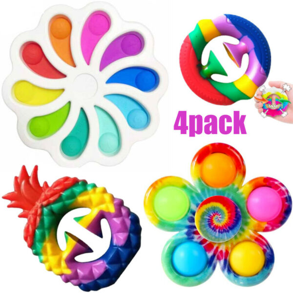 Fidget Sensory Toy Set 4 PACK Snappers Spinner Simple Dimple Stress Relief ADHD $17.88