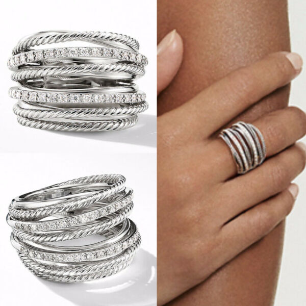 Infinity Jewelry 925 Silver Rings for Women Cubic Zirconia Party Gifts Size 6 10