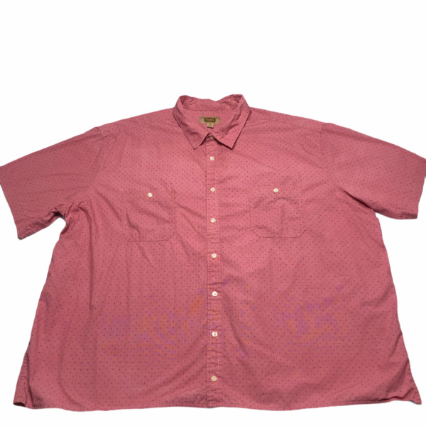 The Foundry Supply Co Button Up Shirt Adult Size 4XLT Red Pink Short Sleeves A8*