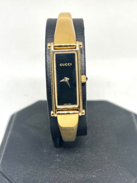 GUCCI 1500 Quartz Women#x27;s Watch Vintage Rectangle Gold Plated Swiss made