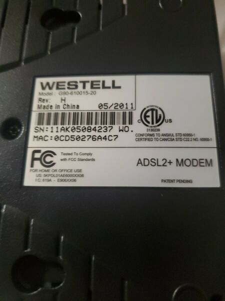 Westell Inc ADSL2MODEM New With Charger Data Line in box Free shipping
