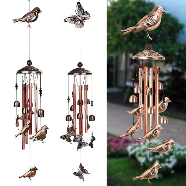 Large Wind Chimes Bells Copper Tubes Outdoor Garden Home Hummingbird Butterfly $11.97