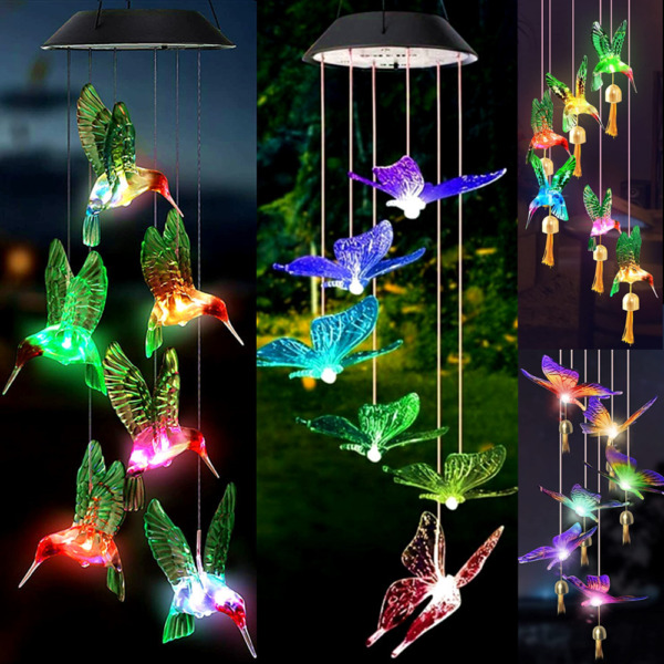 Solar Wind Chimes Lights LED Color Changing Hanging Butterfly Hummingbird Bells $12.55