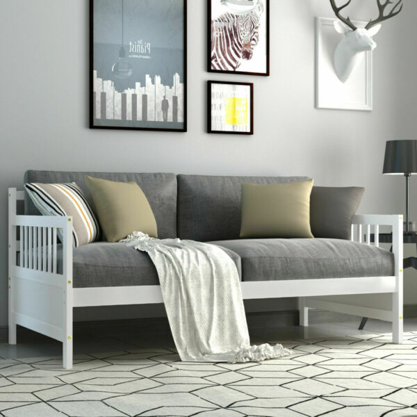 Twin Size Wooden Slats Daybed Bed Sofa Support Platform Sturdy W Rails White $196.59