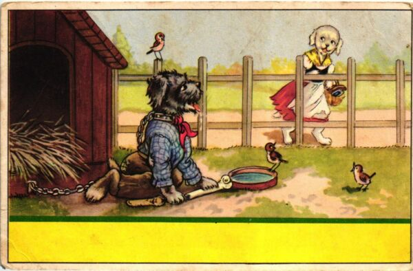 DRESSED SCHNAUZER DOG STUCK WITH CHAIN AND POODLE 1988 COMIC POSTCARD BELGIUM $5.00