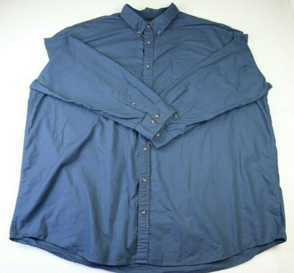 Foundry Long Sleeve Blue Button Up Outdoor Flannel Shirt Men#x27;s Size 4XL