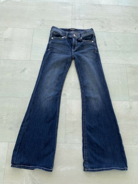 Express Bell Flare Mid Rise Denim Jeans Women#x27;s 6R 6R Blue