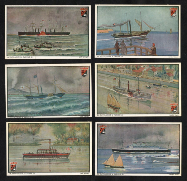 Steam Ships Lavazza Coffee Cards Set 1950 Paddleboat Liner Fulton Papin Brunel