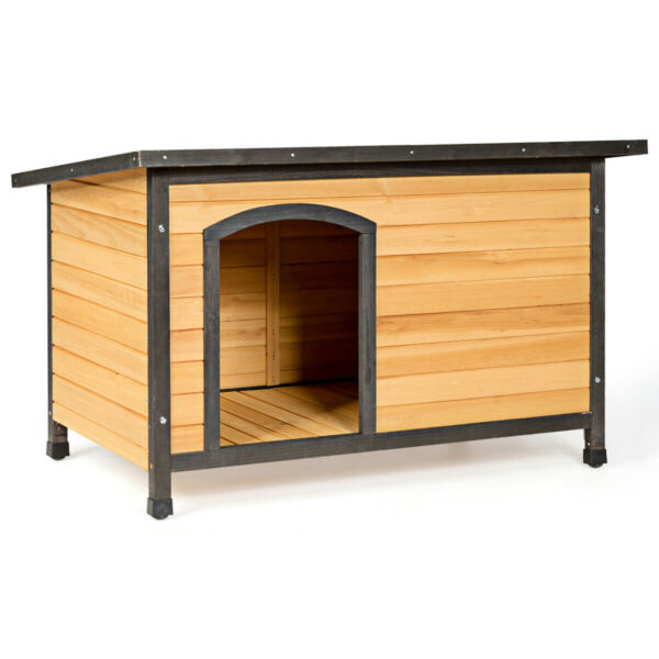 Wood Dog House Extreme Weather Resistant Pet Log Cabin Home Outdoor Large $177.49