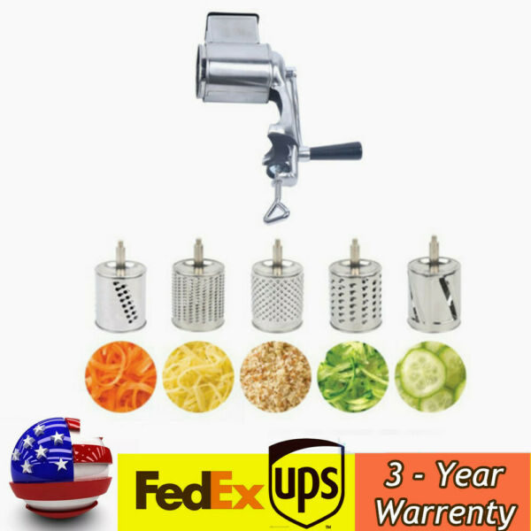 Rotary Grater Food Mills Grinder Machine amp; 5 Drum Blade For Cheese Grating SALE $44.00