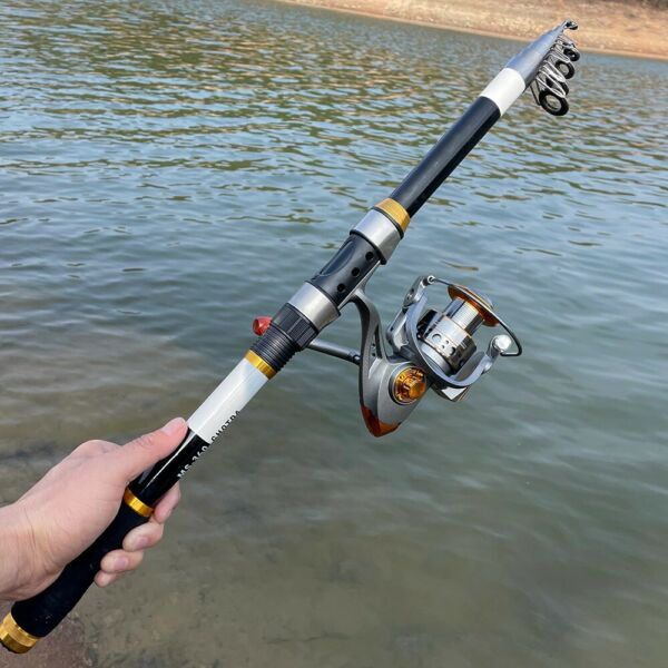 Carbon Portable Telescopic Fishing Rod Reel Spinning Pole Combo Set Fish Tackle $29.99