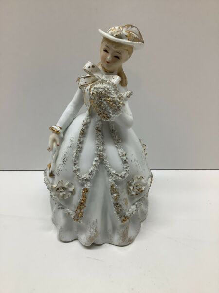 Vintage Lefton China lady in white gold dress figurine flowers KW1573