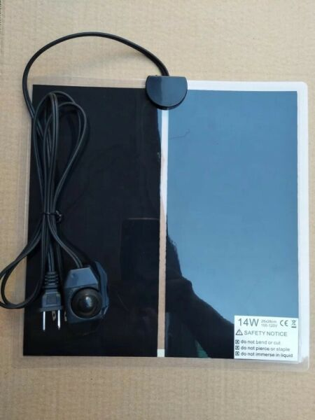 """Reptile Under Tank Heating Pad 110V with Thermostat 11.5"""" X 11.5"""" $15.00"""