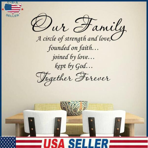 Our Family PVC Removable Room Decal Art DIY Wall Sticker Home Decor $8.18