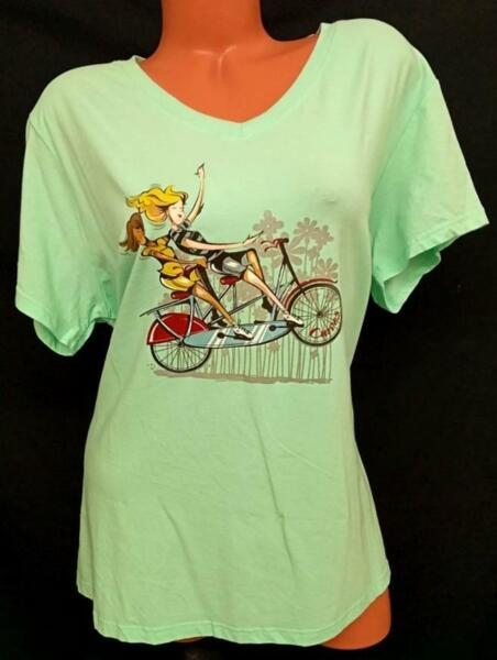Curves green bicycle girls short sleeves women#x27;s v neck plus size tee top 2X $15.99