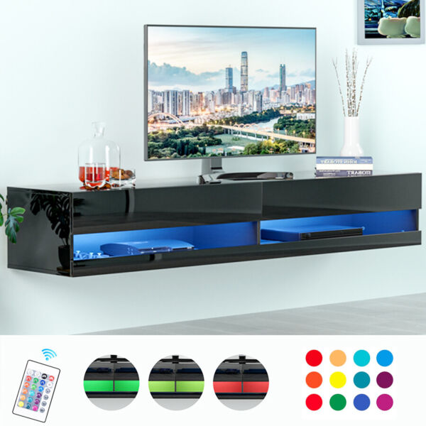 80quot; TV Stand Wall Mounted Floating Entertainment Center Media Console w RGB LED $229.99