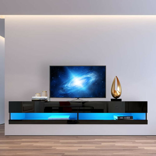 TV Stand Wall Mounted 20 Color LEDS Floating Shelf Black For TVs up to 80 INCH $229.99
