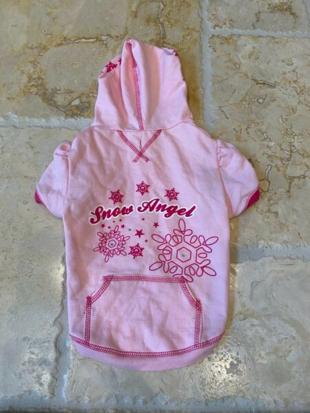 Top Paw Dog Snow Angel Hoodie Size M 14quot; long $7.50
