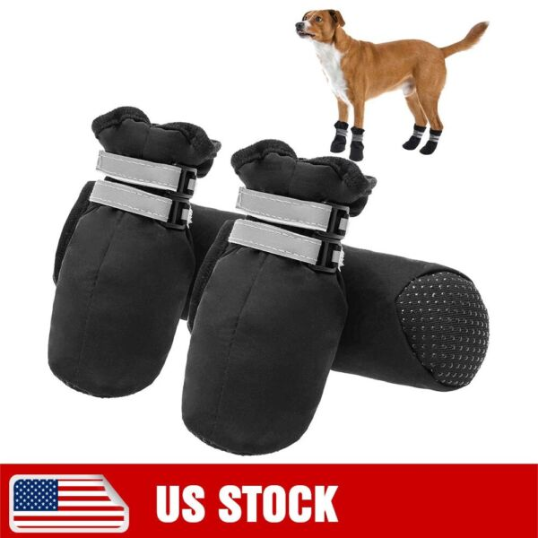 Dog Boots Non Slip Durable Dog Shoes Soft Paw Protector w Reflective Straps $13.00