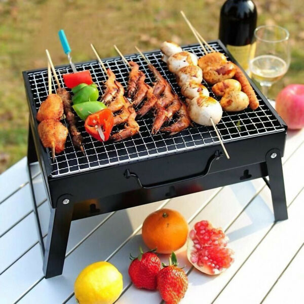 BBQ Barbecue Grill Fold Portable Charcoal Stove Camping Garden Outdoor BBQ Set