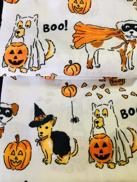 FABRIC HALLOWEEN DOGS IN COSTUMES SHOWER CURTAIN PUMPKINS TREAT BAGS ROLLER HOOK $32.99