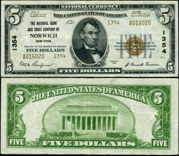 Norwich NY New York $5 1929 T 2 National Bank Note Ch #1354 NB amp; TC VF $227.00