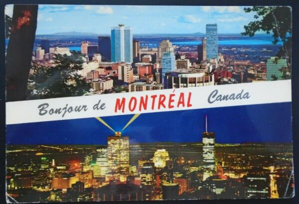 """1960s """"Bonjour de Montreal Quebec"""" Business Section View at Night Canada"""