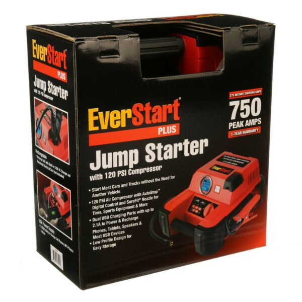 Auto Battery Jump Starter Air Compressor 750 Peak Amps Portable Car SUV Charger $45.45