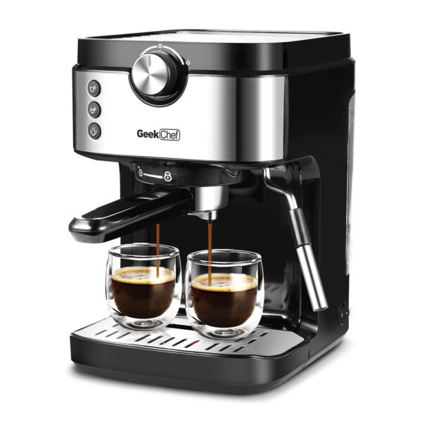 1300W Espresso 20 Bar Coffee Machine Cappuccino With Foaming Milk Frother Wand