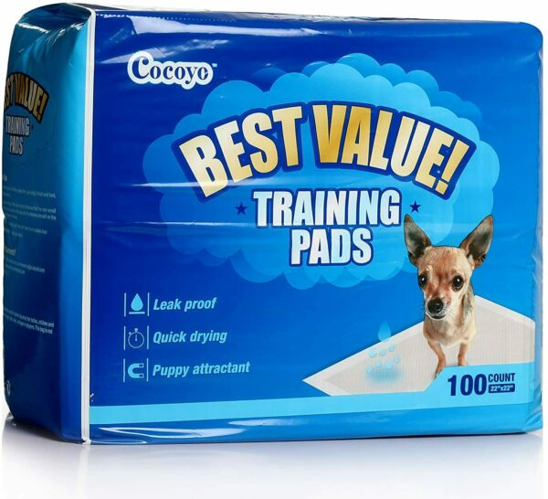 Dog and Puppy Training Pads Leak proof Quick dry Pee Pads 22quot; x 22quot; 100 Count $23.71