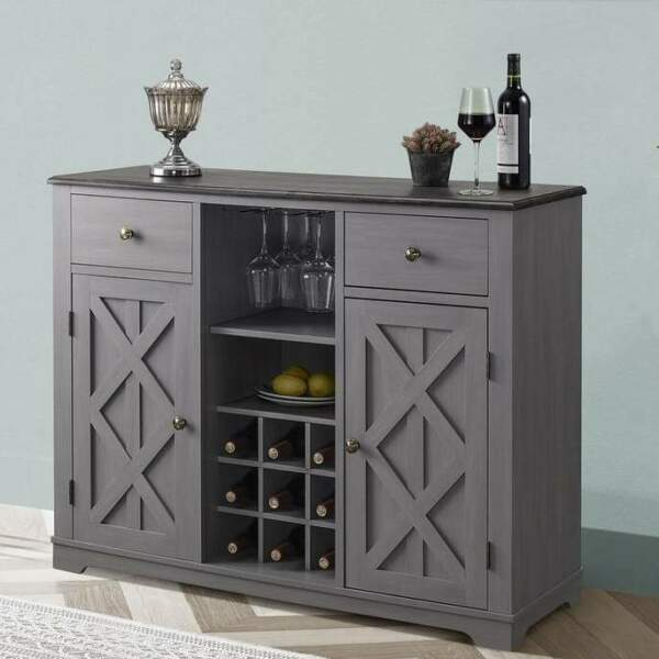 Buffet Sideboard Cabinet Credenza With Built in Wine Rack Bar in Grey Finish