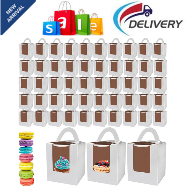50 Pack Single Cupcake Boxes White Cupcake Boxes with Window Muffins Carriers
