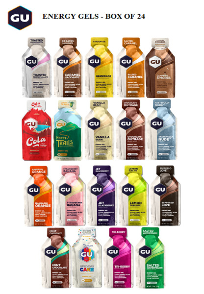 quot;FREE SHIPPINGquot; GU ENERGY GELS FOR RUNNING amp; CYCLING BOX OF 24 CHOOSE FLAVOR $30.99