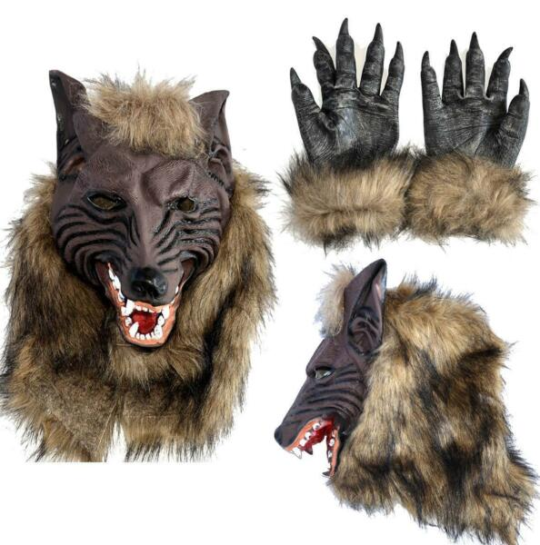 Halloween Rubber Wolf Head Face Mask Werewolf Claw Gloves Cosplay Costume Party $20.99