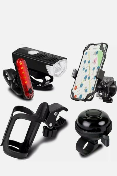 5 Pack Bicycle Accessories Bike Light Set USB Rechargeable 2 USB Cables $24.99