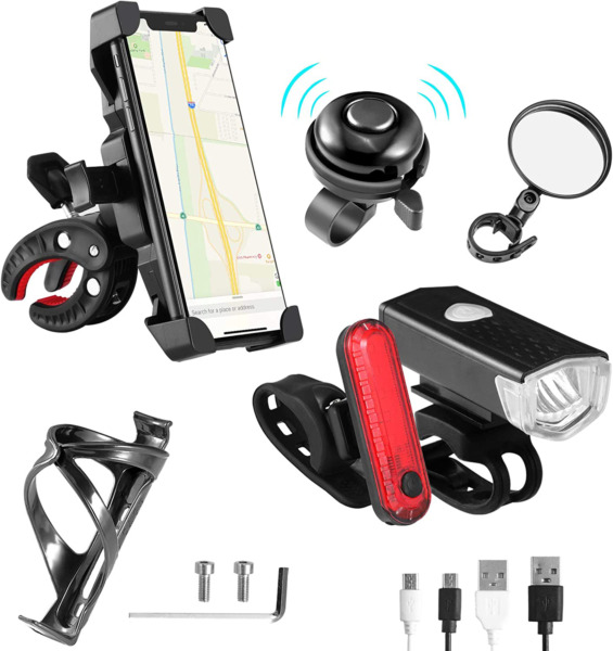 6 Pack Bike Accessories Bike Lights Front and Back USB Cable Included 360° Rotat $34.68