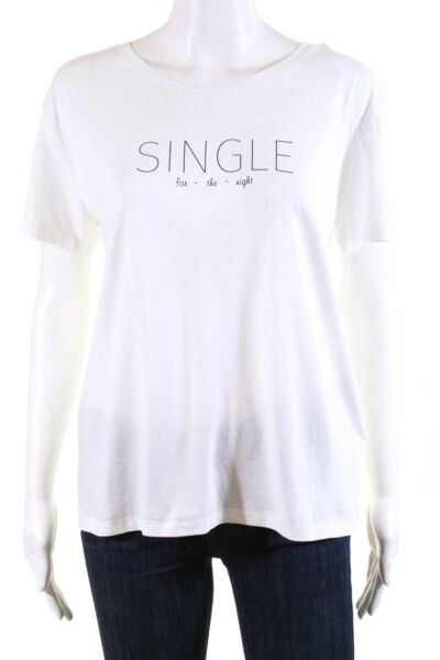 Bassigue Womens Single For The Night Tee Shirt White Cotton Size Large $44.01